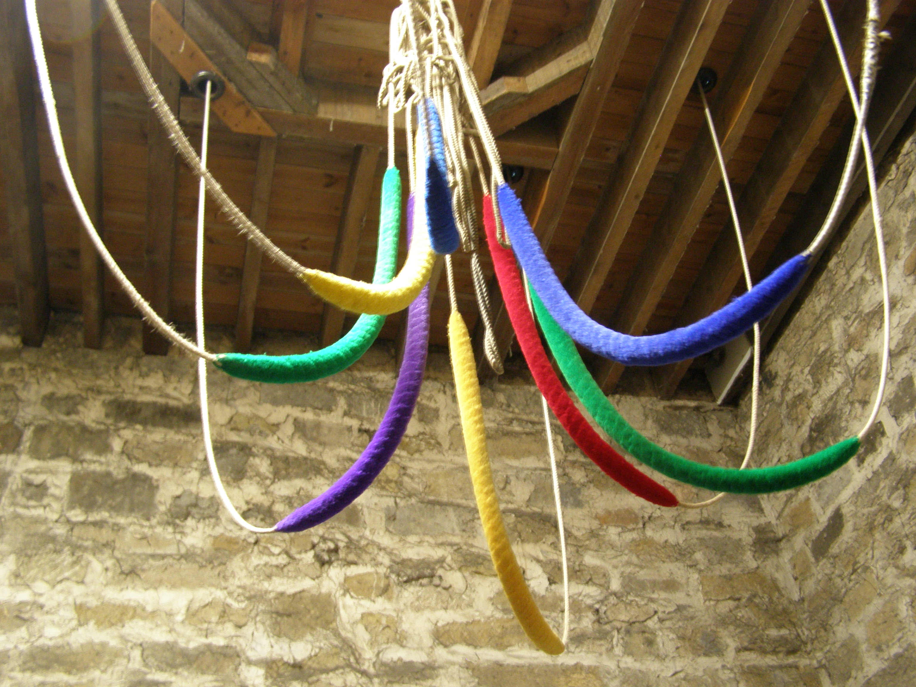 The liturgical coloured bell ropes
